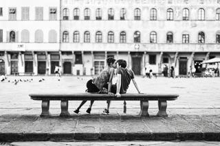 bacio, Piazza Santa Croce Firenze
